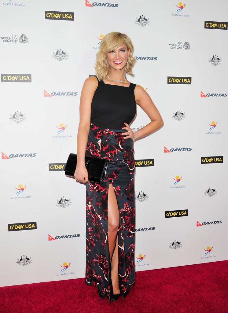 Delta Goodrem showed a little leg on the red carpet at the G'Day USA Los Angeles Black Tie Gala in Jan. 2014.