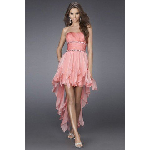 Hot Selling A Line Strapless Asymmetrical Train Prom Dress BAB0085