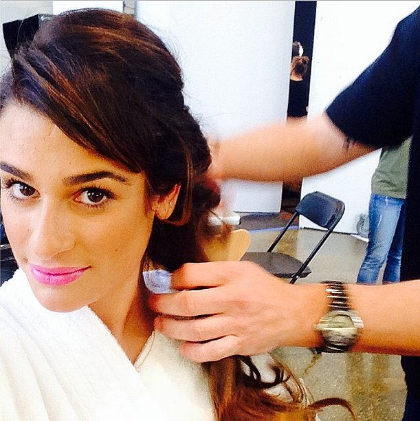 Lea Michele shared this snap of her pink pout and voluminous side braid. Source: Instagram user msleamichele