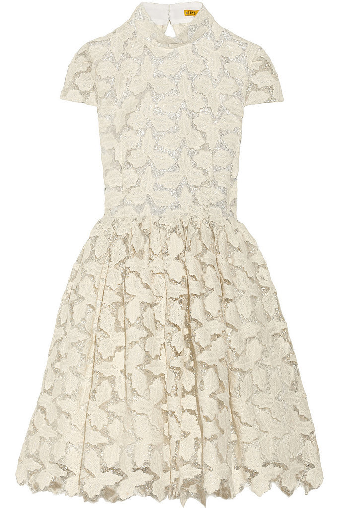 Alice + Olivia Jayna Metallic White Lace Dress