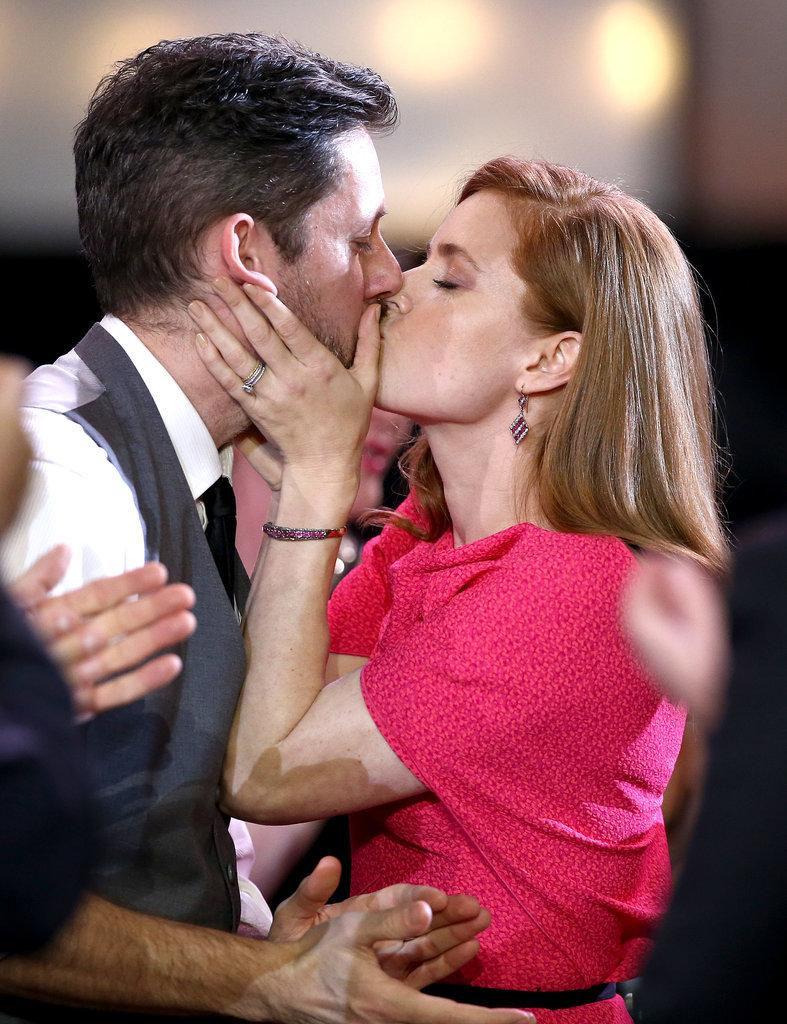 Darren Le Gallo kissed his award-winning fiancé, Amy Adams.