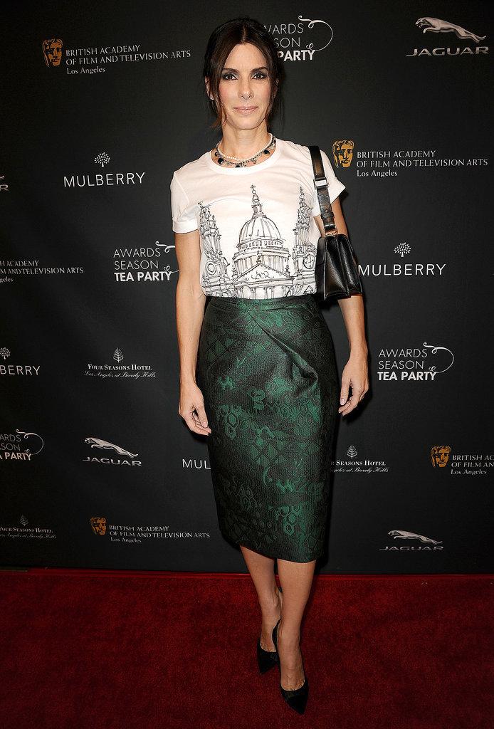 Sandra Bullock in Burberry Prorsum at the BAFTA Tea Party
