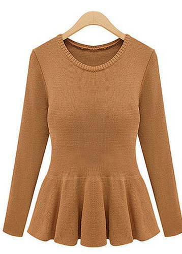 Frill Design Long Sleeve Sweater