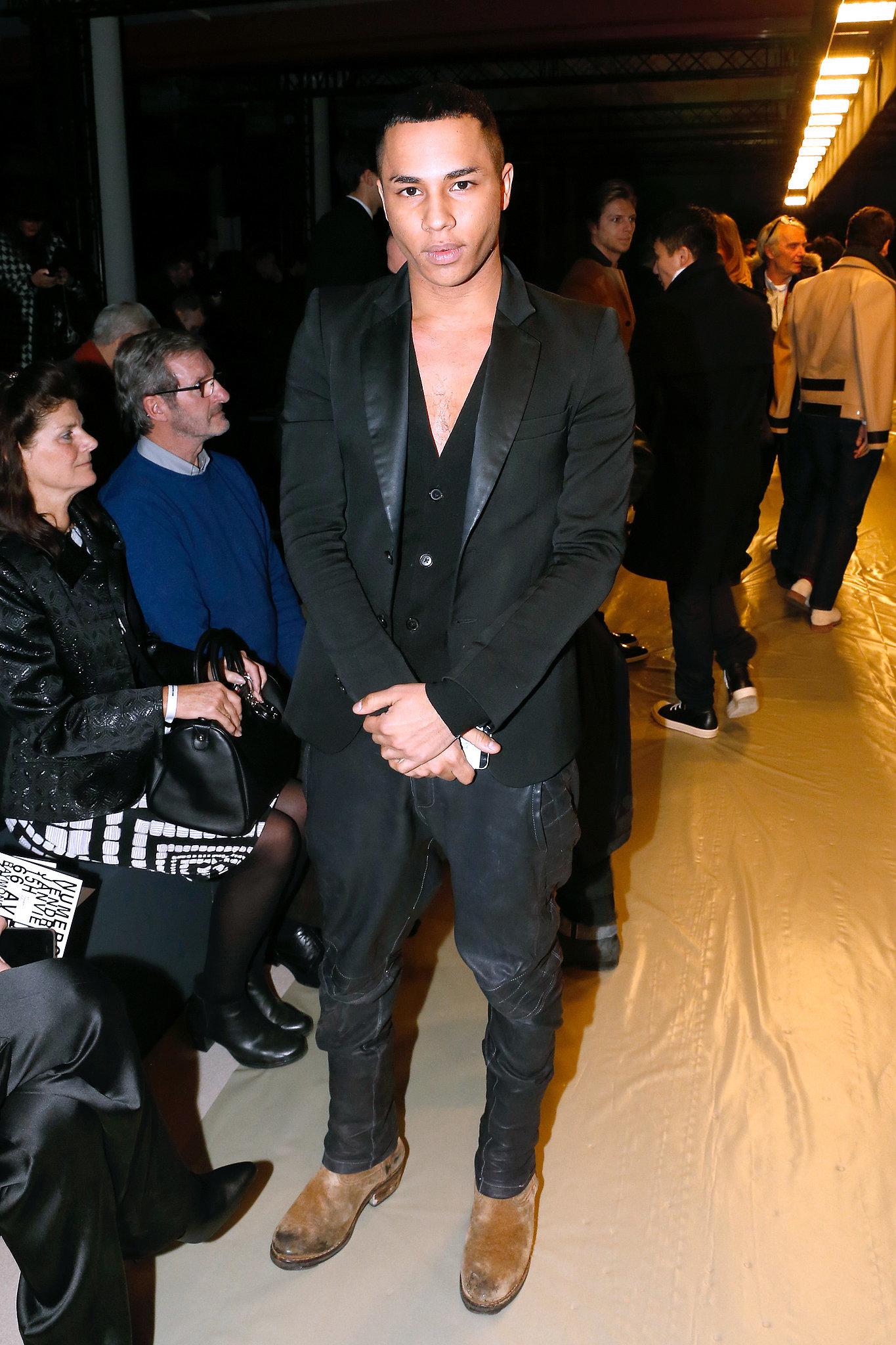 Olivier Rousteing at the Krisvanassche menswear show.
