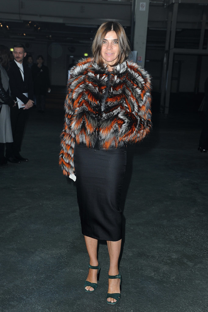 Carine Roitfeld at the Givenchy menswear show.
