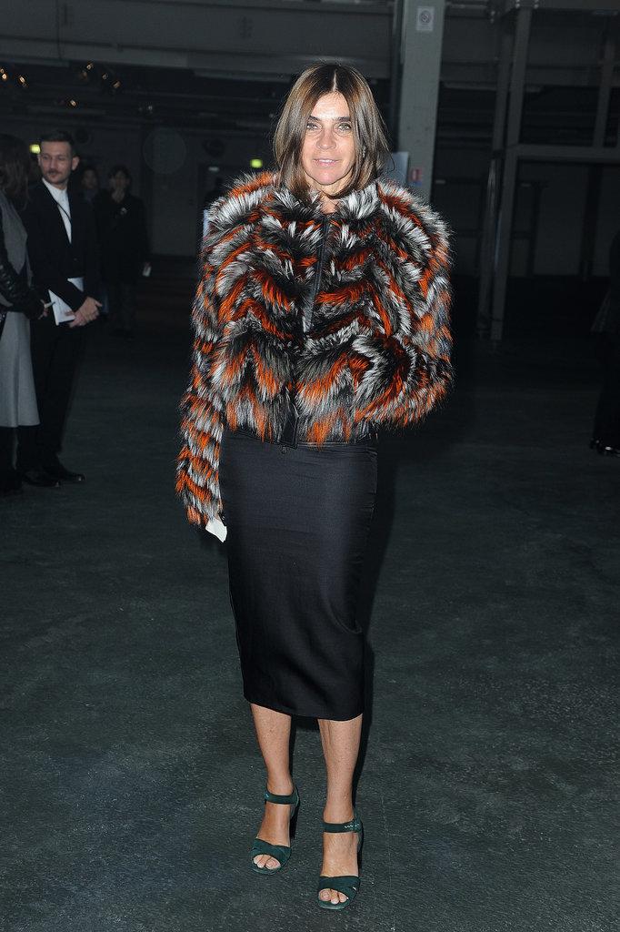 Carine Roitfeld at the Givenchy menswear show.