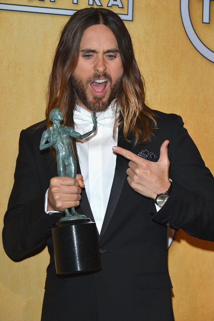 Jared Leto was psyched when he took home the trophy for his work in Dallas Buyers Club.