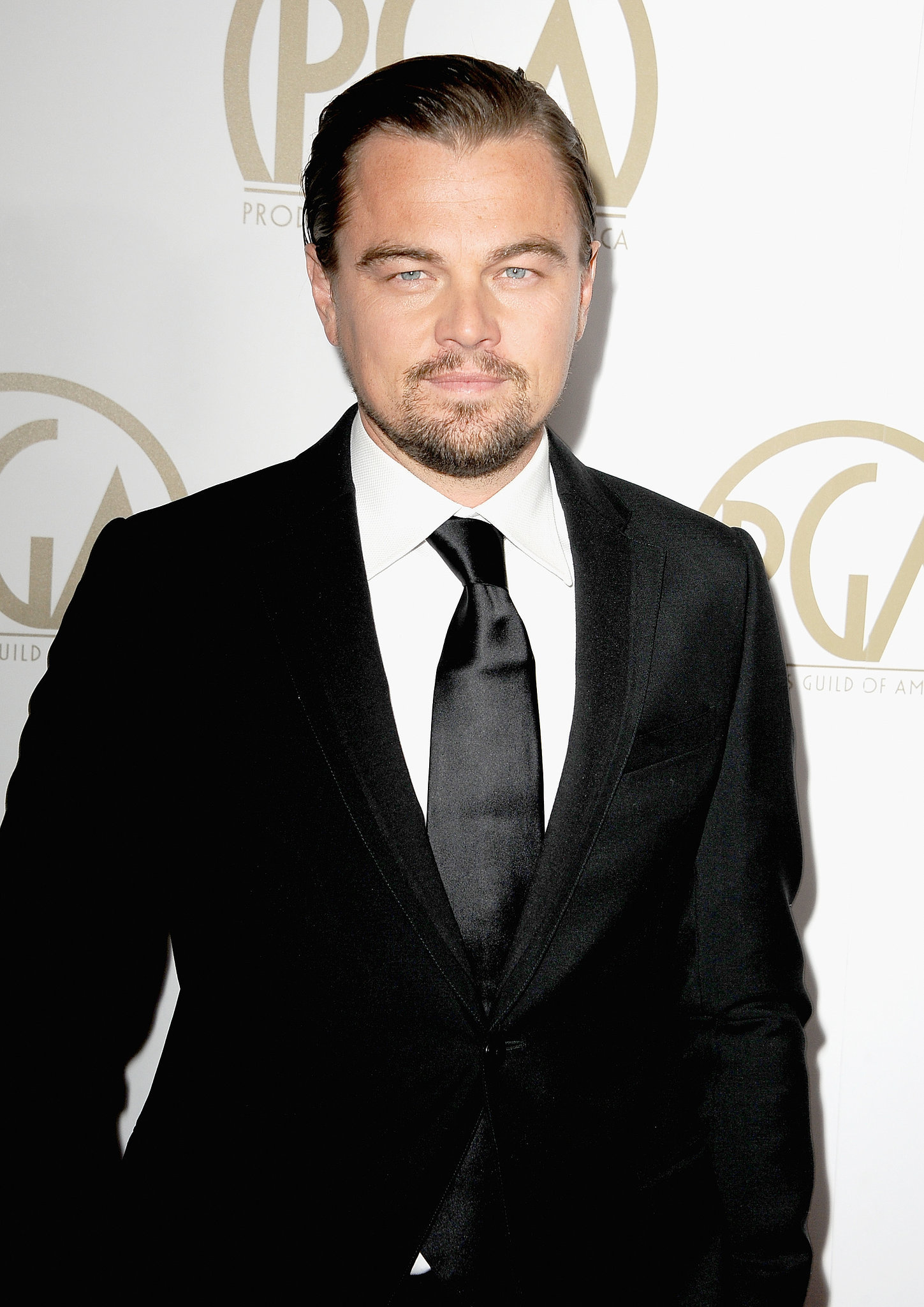 Leonardo DiCaprio kept it simple in a black suit.