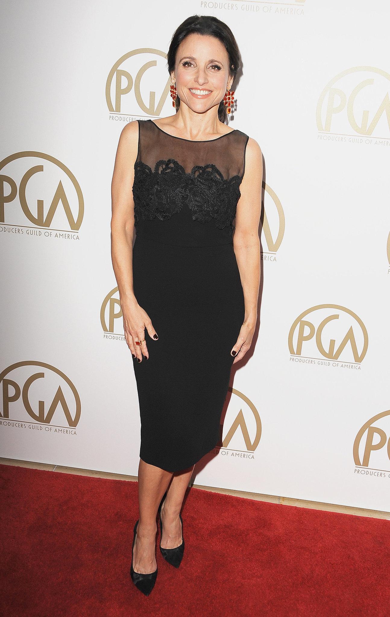 Julia Louis-Dreyfus wore a black dress with a sheer neckline.