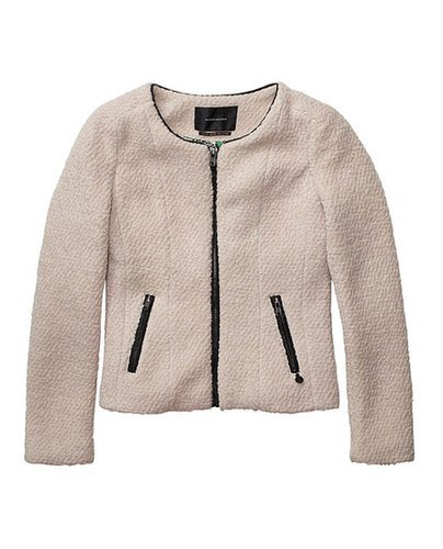Bouclé Blazer With Fine Leather Piping