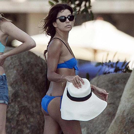 Eva Longoria Wearing a Blue Bikini in Mexico