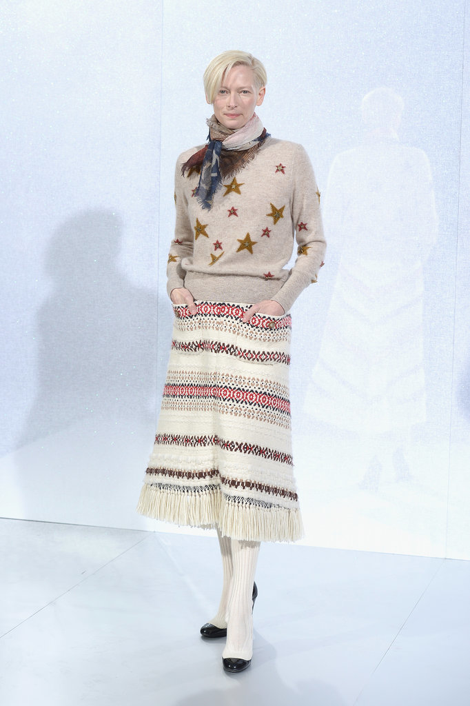 Tilda Swinton at the Chanel Paris Haute Couture show.