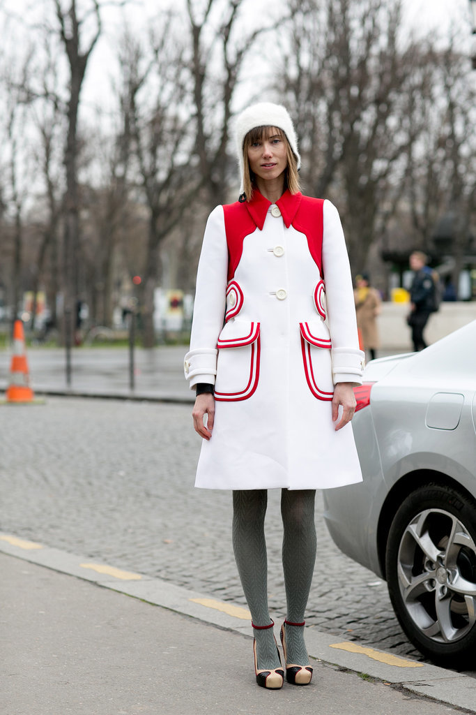 Anya Ziourova charmed us with her red and white coat.