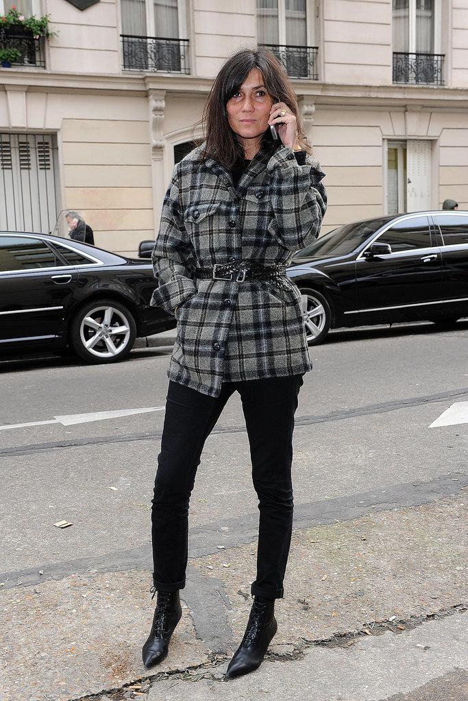 Emmanuelle Alt outside the Maison Martin Margiela Haute Couture show.
