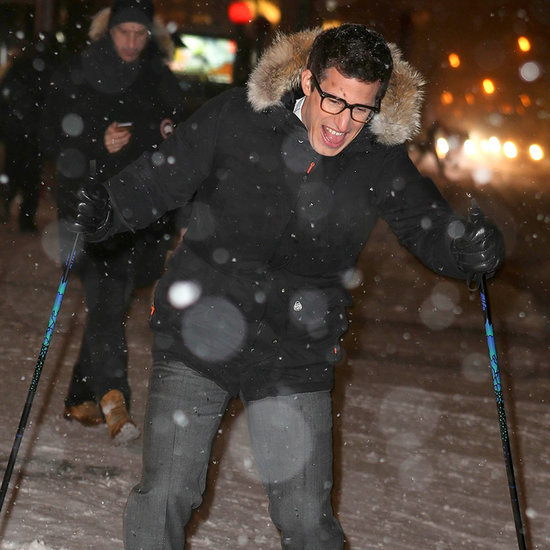 Andy Samberg Skiing on the Streets in NYC