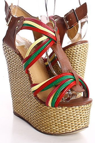 TAN MULTICOLOR STRAPPY PEEP TOE WOVEN PLATFORM WEDGES