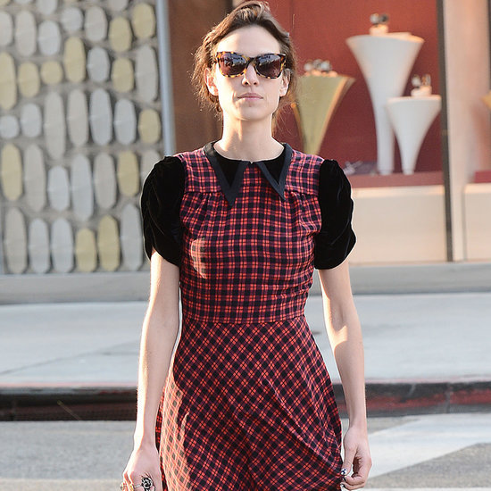 Alexa Chung's Red Plaid Dress and Charlotte Olympia Flats