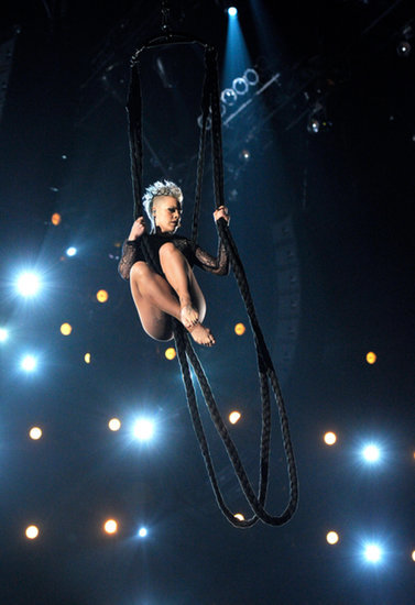 Pink showed off her acrobatic skills again this year.