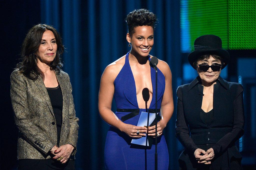 Olivia Harrison, Alicia Keys, and Yoko Ono took the stage together.