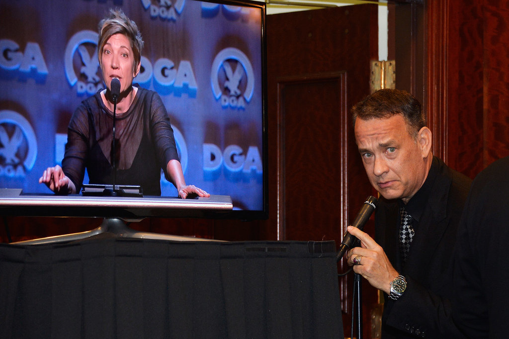 Tom Hanks joked around in the press room.
