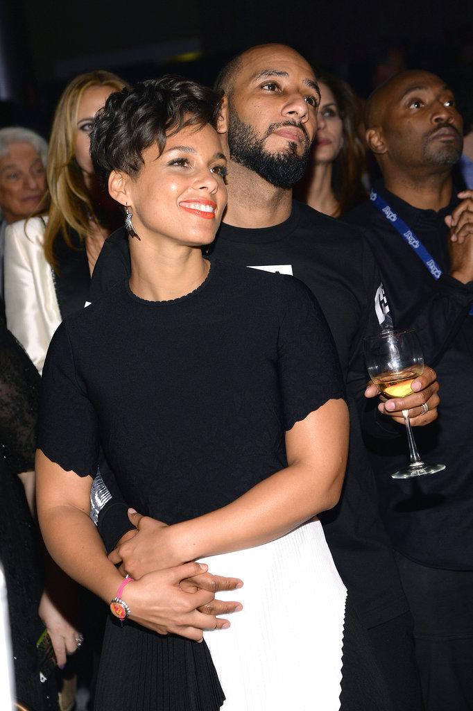 Alicia Keys cuddled up with her husband, Swizz Beatz.