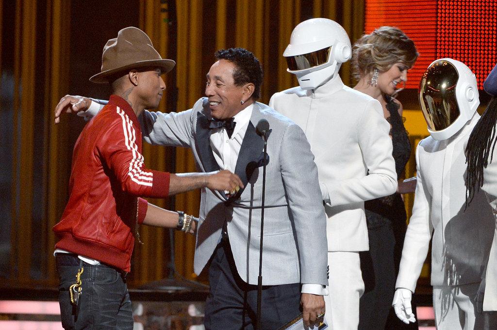 Smokey Robinson hugged Pharrell Williams as he and Daft Punk won.