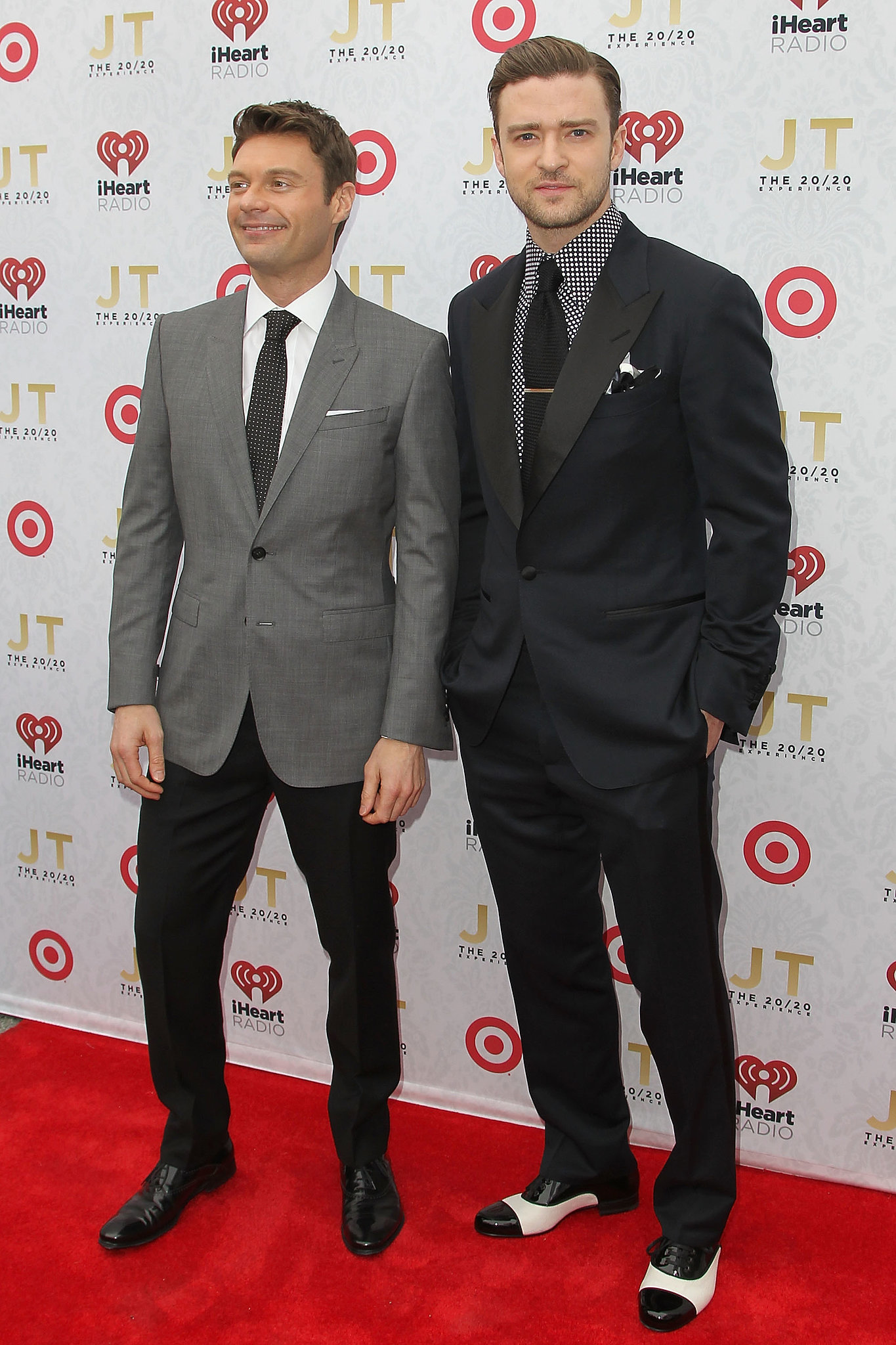 From Ryan Seacrest's playful tie to Justin's statement-making shirt, it's clear these guys were both on the polka-dot train at the iHeartRadio 20/20 album release in March 2013.