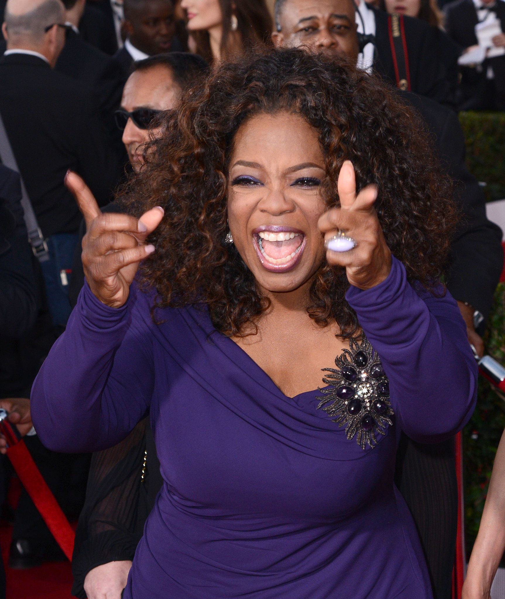 Oprah was all smiles and pointer fingers as she arrived on the SAG Awards red carpet in 2014.