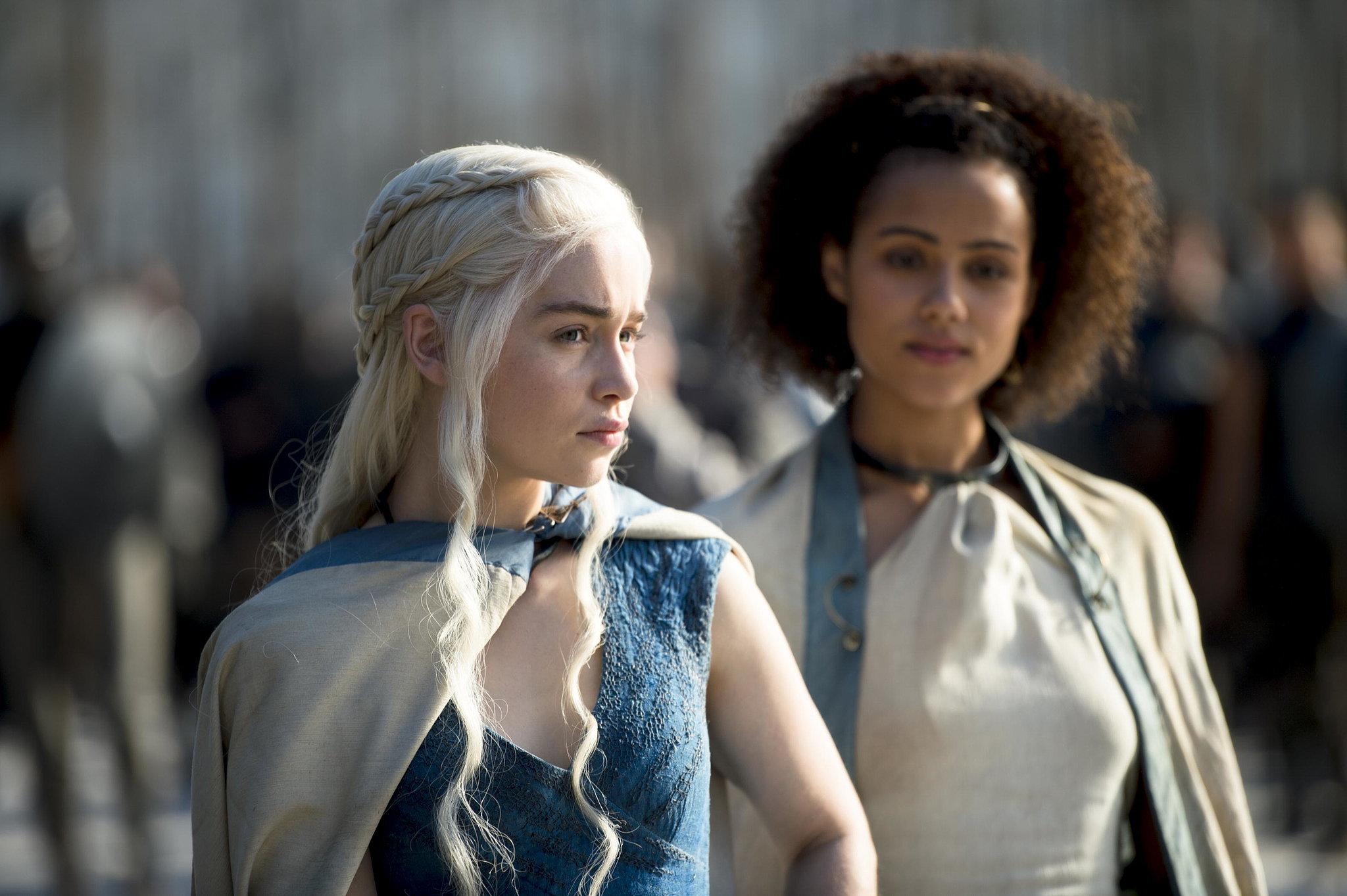Emilia Clarke as Daenerys and Nathalie Emmanuel as Missandei.