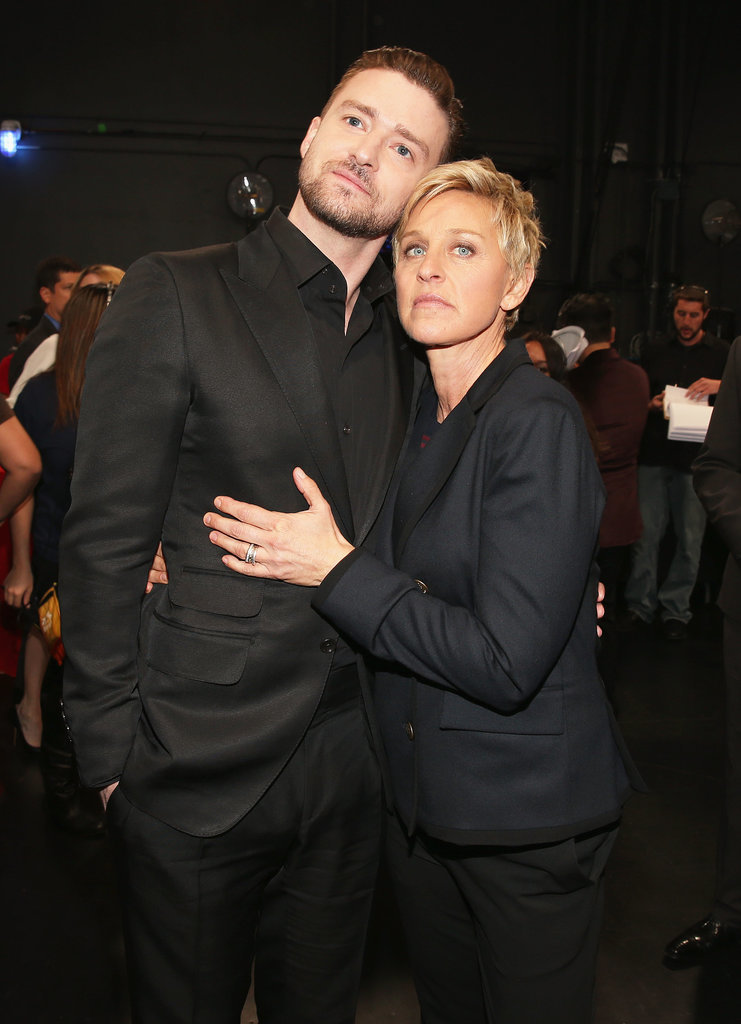 Justin got serious with his good friend Ellen DeGeneres as the 40th Annual People's Choice Awards in LA this month.