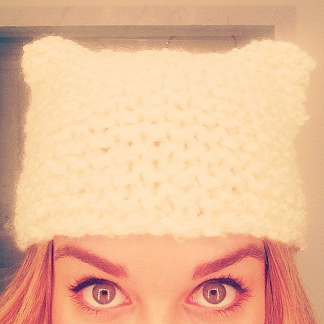 She knits, too! Lauren's friends were the lucky (?) recipients of these cute beanies that accidentally turned out with corners. Source: Instagram user laurenconrad