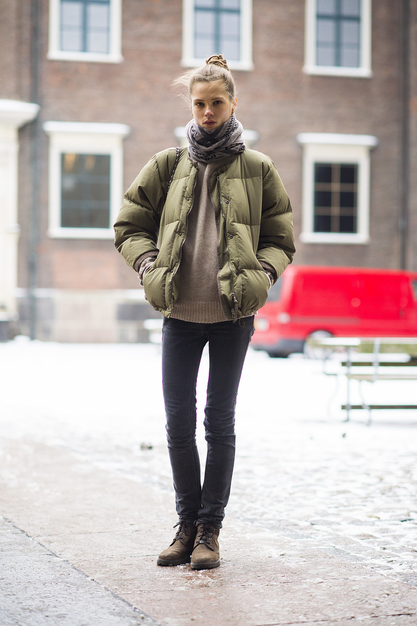 Sure, your puffer jacket is a Winter necessity, but it also looks pretty cute atop skinny jeans and a cozy sweater. Source: Le 21ème | Adam Katz Sinding