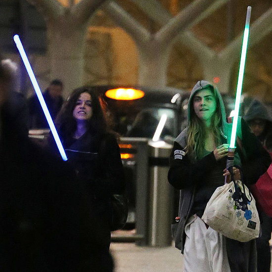 Cara Delevingne and Michelle Rodriguez With Lightsabers