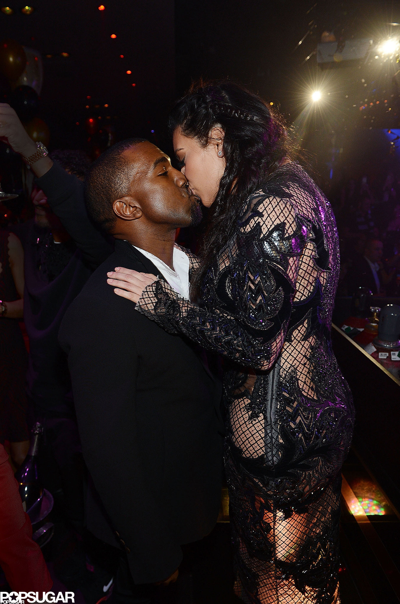 Kanye West and Kim Kardashian had lots to share affection over after announcing their pregnancy news on New Year's Eve 2013 in Las Vegas.