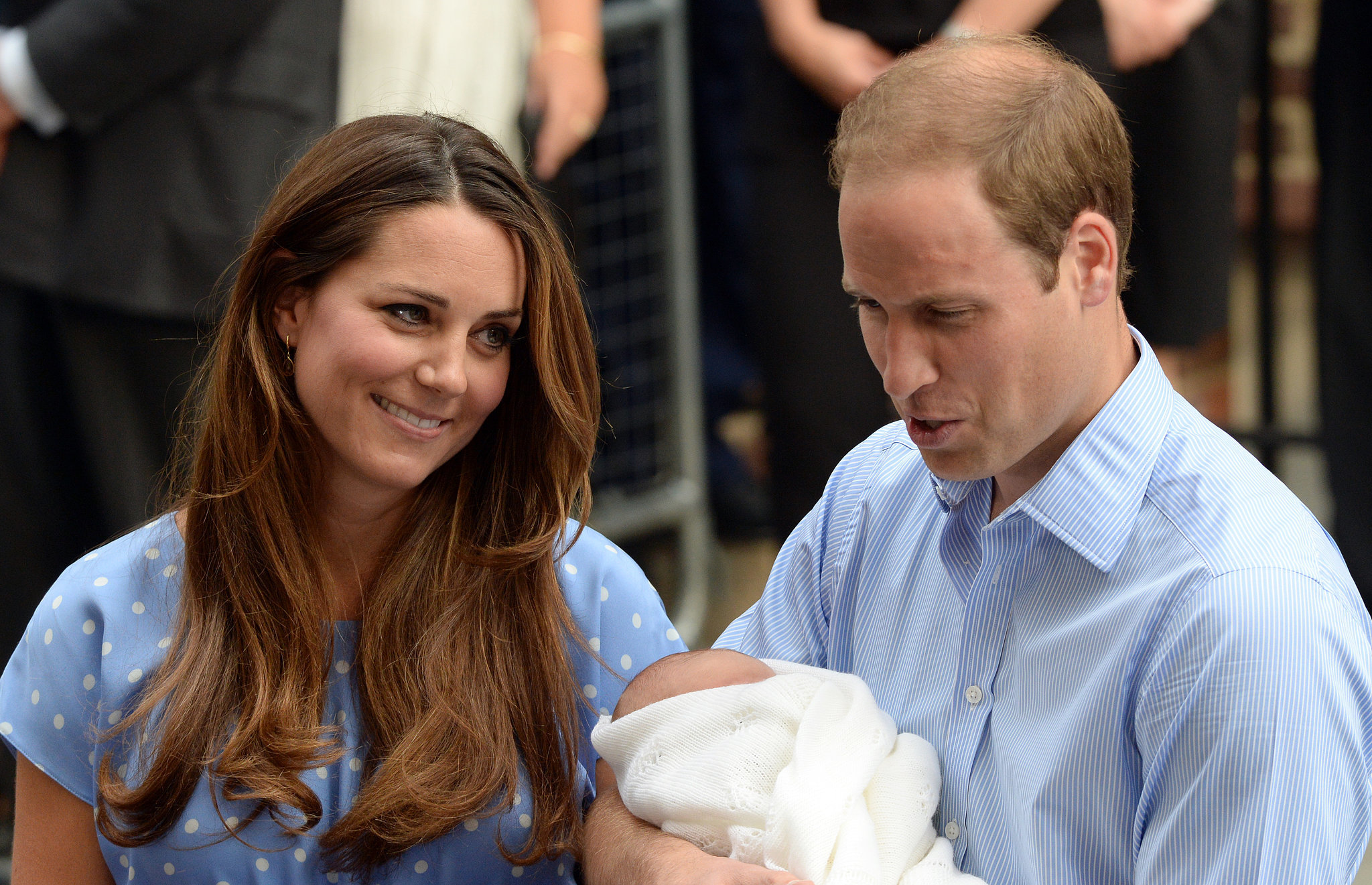Kate gazed at William when they introduced Prince George to the world in July 2013.
