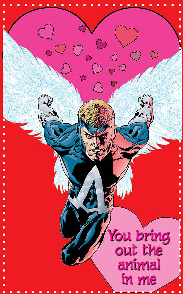 Animal Man proves he can be creepy in this valentine from the Young Romance book ($18).