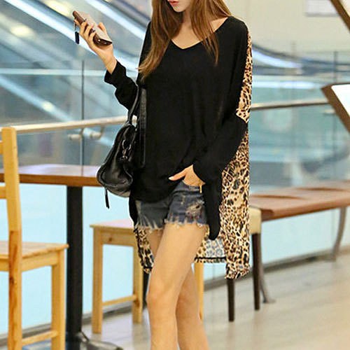Image of [grzxy6601046]Splicing Leopard Print Batwing Long Loose Fit T-shirt Top