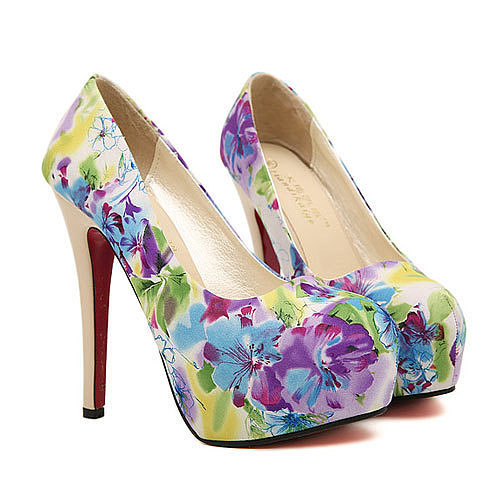 Image of [grxjy5190351]Colorful Floral Print Super High Platform Stiletto Shoes Pump