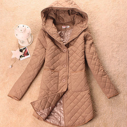 Image of [grzxy6601030]Solid Color Irregular Hem Hodded Qulited Plaid Jacket Long Coat