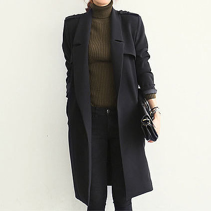 Image of  [grzxy6600973]Stylish Black Business Suit Notched Collar Belted Slim Long Tunic Coat