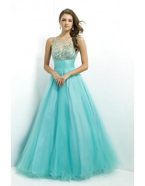 Prom Dress Scoop Neckline Mesh Illusion Beaded Bodice Tulle Blue
