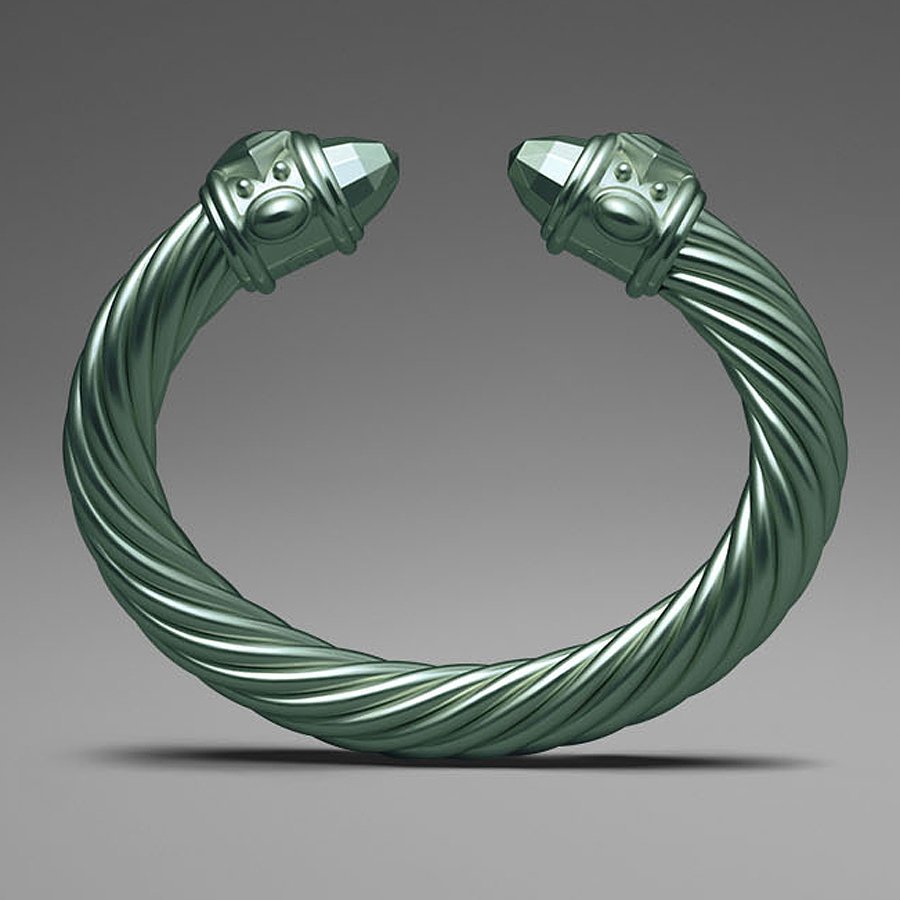 David Yurman Light Green Aluminum Cable Bracelet