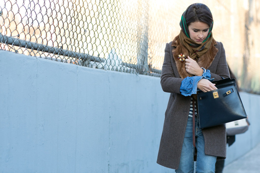 Miroslava Duma dressed up denim with a little Hermès on her arm.