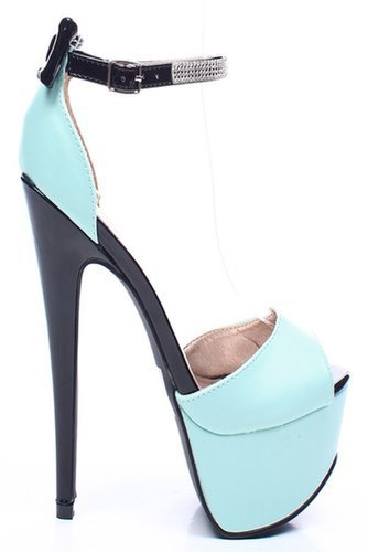 MENTHOL FAUX LEATHER RHINESTONE ANKLE STRAP PLATFORM HEELS