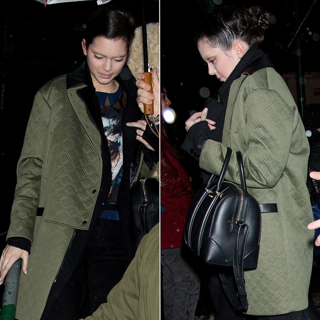 Kendall Jenner in a Quilted Green Coat Leaving Marc Jacobs