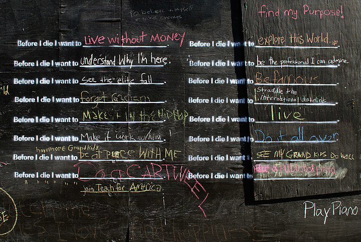 """A panel of the original """"Before I Die"""" wall in New Orleans. Photo courtesy of CandyChang.com"""
