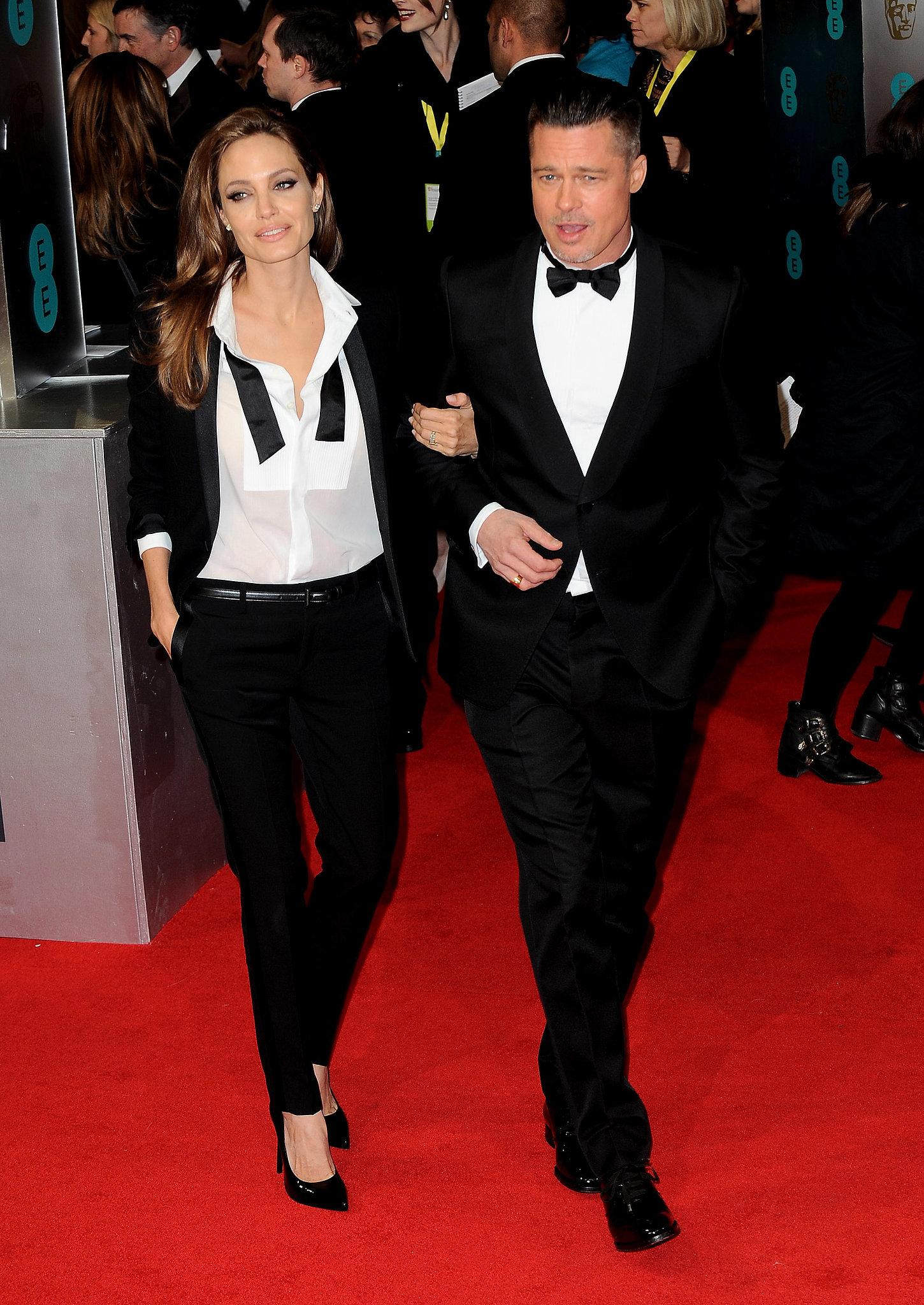Brad Pitt and Angelina Jolie at the 2014 BAFTA Awards.
