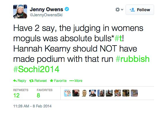Finally, social media seems like a natural place to find Olympic conspiracy theories. But would you expect them to come from the athletes? Australian skier Jenny Owens called out the judges for awarding Vancouver gold-medalist American Hannah Kearney a bronze in Sochi after a poor showing. Apparently she thinks popularity won out over performance.  Do you buy any of these?