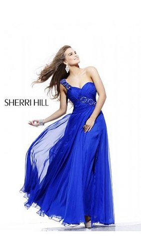 2014 Sherri Hill 1528 Ruched Bodice Prom Dress Royal Blue