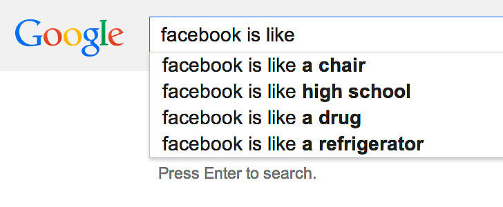 What Google Autocomplete Says About Our Social Media Sites